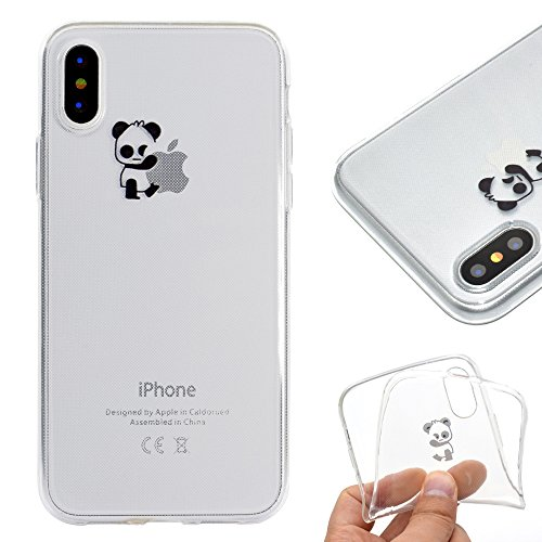 Artfeel Klar Weich Silikon Hülle für iPhone XS, iPhone XS Handyhülle Niedlich Karikatur Panda Muster,Ultra Dünn Leicht Transparent Flexibel TPU Bumper Stoßfest Zurück Schutzhülle -