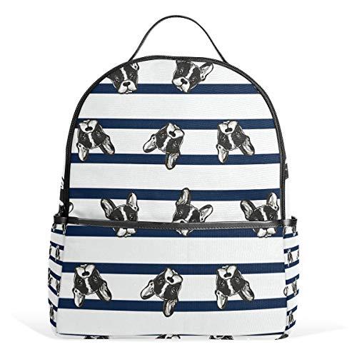Rucksack mit Mops-Streifen, für Damen, Teenager, Mädchen, modische Tasche, Büchertasche, Kinderreise, College, Freizeitrucksack, Jungen, Vorschule, Heimkehr, Schulbedarf, Mini -