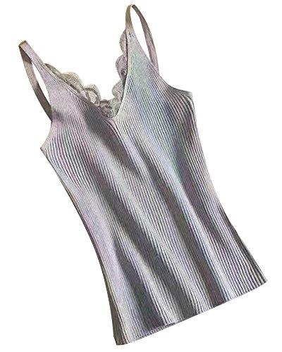 Minetom Damen Sommer Elegante Ärmellos Spitze Oberteil V-Ausschnitt T-shirt Tank Lace Strap Tops Weste Vest Bluse Grau