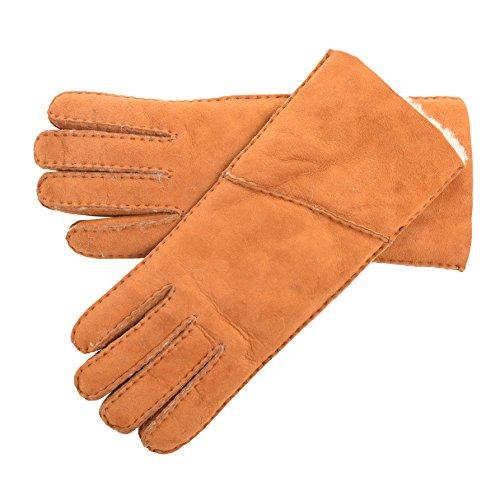 Lambland Damen Falten Schaffell Handschuhe in Bräunen - Größe Mittel