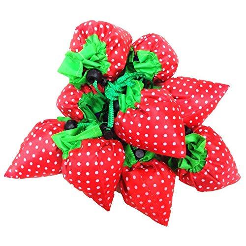 Faltbare Einkaufstaschen SKL ECO Taschen wiederverwendbare Erdbeere faltbar Einkaufstaschen Tote-12 Packs -