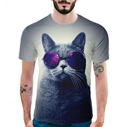 T Shirt Herren, HUIHUI Coole O-Ausschnitt Kurzarm Sweatshirt Slim Fit Basic UV Polo-Shirt Mode Sport Oberteile Oversize Bench Tops 3D Katze Drucken Sommer Freizeit Hemd Poloshirt (L, Weiß)