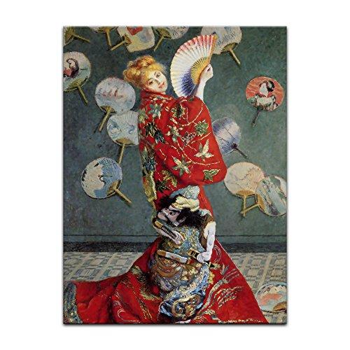 Kostüm Auf Gemalt - Bild ohne Rahmen - Claude Monet La Japonaise (Camille im japanischen Kostüm) 60x80cm ca. A1 - Kunstdruck Poster Alte Meister