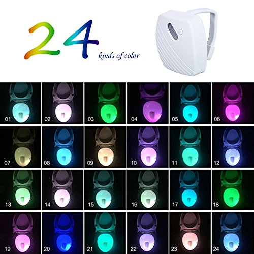 Kobwa LED WC-Schüssel Licht, verbesserte 16wechselnden Farben Verstellbare Helligkeit Motion Sensor aktiviert WC-Sitz zum Aufhängen Nachtlicht für Badezimmer, Glow in der Dunkelheit–niedrigem akkuladezustand, 24 Colors Changing (Glow Wc-sitz)