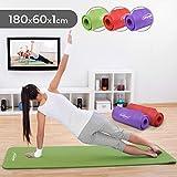 Physionics Tapis de Yoga - 180 x 60 cm, Épaisseur (1 ou 1,5 cm), avec Sangle de Transport, Antidérapant, Couleur au Choix - Tapis de Sol, Gymnastique, Fitness, Exercices (180 x 60 x 1 cm, Vert)