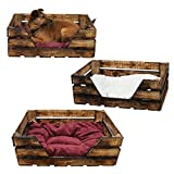 K6 Katzenkorb / Katzenbett aus Holz von GalaDis mit Kissen / Hundekorb / Hundebett / Hundesofa / Wurfkiste - Shabby Chic / Landhaus