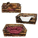 K6 Katzenkorb / Katzenbett aus Holz von GalaDis mit Kissen / Hundebett / Hundesofa / Wurfkiste - Shabby Chic / Landhaus
