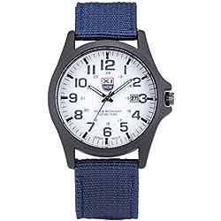 Man Wrist Watch - Kingwo Outdoor Mens Canvas Watch Date Stainless Steel Military Sports Analog Quartz Army Vintage Wrist Watch(Blue)