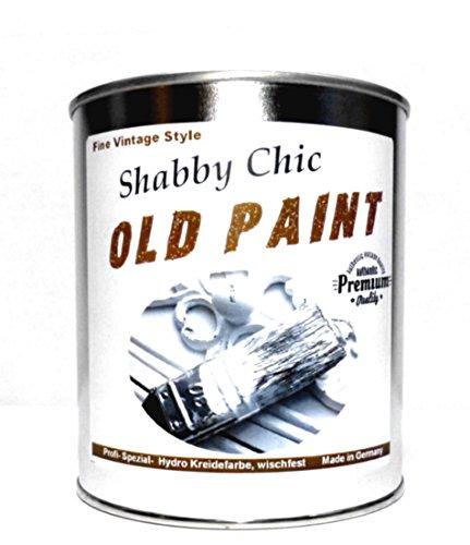 1Kg. Kreidefarbe ABWISCHFEST Shabby Chic Farbe: 'Old Paint' weiß und Farbig Lack Chalky Paint (Weiß)