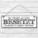 Toilette besetzt - WC Bad Badezimmer Dekoschild Türschild Wandschild Holz Deko Wand Tür Schild 10x30cm Holzdeko Holzbild Geschenk Mitbringsel Geburtstag