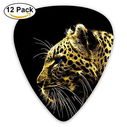 12-Pack Custom Guitar Picks Cheetah Black Background Standard Bass Guitarist Music Gifts,0.46/0.73/0.96 Mm Guitar -