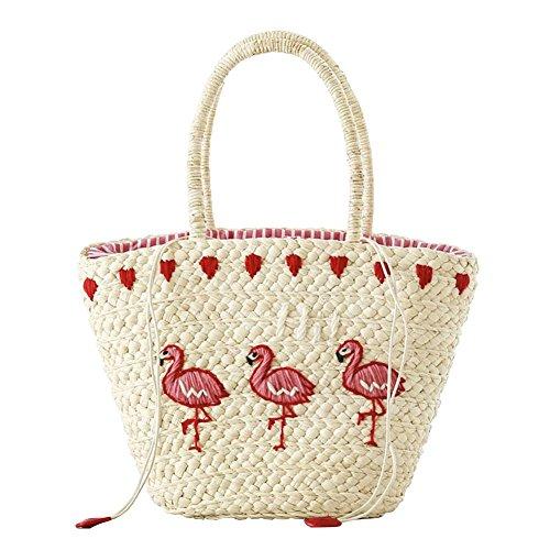 Damen Rattan Tasche Handtasche Vintage Handarbeit Umhängetasche Strandtasche Sommer New Flamingo-Muster (Handtasche Wolle Damen)