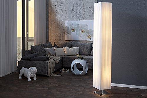 Standleuchte Weiß 190cm hoch eckig Bauhaus Design stimmungsvoller Latex Schirm Weiß Lampe...