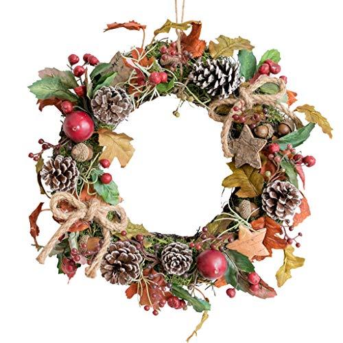 XX XiaoXIAO Weihnachtskranz, Rattan Dry Pine Kranz Weihnachtsdekoration Haupttür hängender Charme Indoor-Szene Arrangement Weihnachtskranz (Size : 29x29cm)