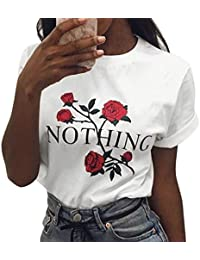 LAEMILIA T-shirt Femme Col Rond Manches Courtes Tee Shirt Top Haut Imprimé Rose Fleur Casual Métro