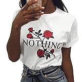 LAEMILIA T-Shirt Femme Col Rond Manches Courtes Tee Shirt Top Haut Imprimé...