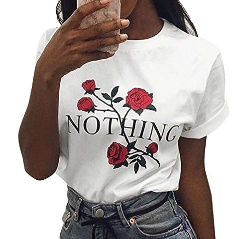 LAEMILIA T-shirt Femme Col Rond Manches Courtes Tee Shirt Top Haut Imprimé Rose Fleur Casual Métro (FR36/38=Tag M,