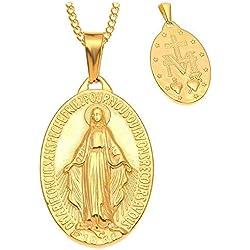BOBIJOO Jewelry - Pendentif Collier Médaille Vierge Marie Miraculeuse Acier Plaqué Doré Or Chaîne