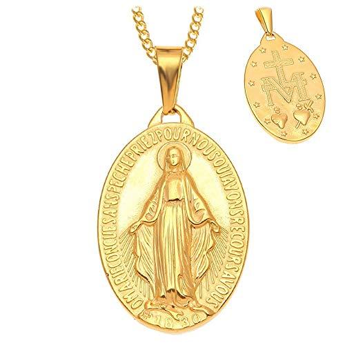 BOBIJOO Jewelry - Anhänger Halskette Medaille Jungfrau Maria, Wunderbare, Stahl Vergoldet Gold Kette - Maria Von Medaillen