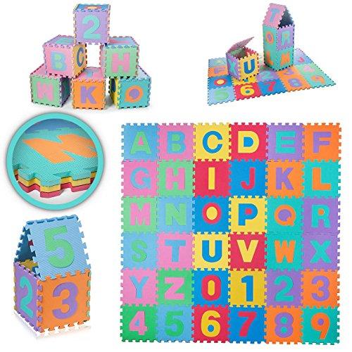 Baby Vivo EVA-Alfombra puzle de juego para niños 190 x 190 cm con let