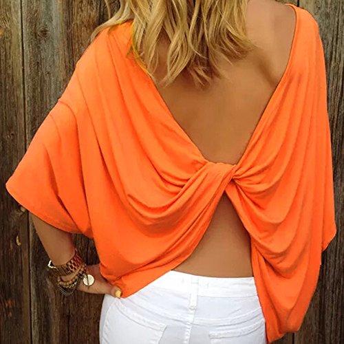 La Cabina T-shirt Blouse Femme Demi-Manches & Col Rond Dos Nue Solide Couleur Tops Slim Fit et Grande Taille Orange