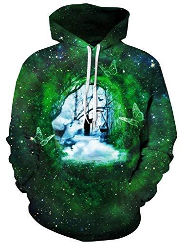 Ocean plus uomo galassia felpa con cappuccio 3d cranio animale felpa halloween hoodie natale pullover maglioni (l/xl (brustumfang: 114-134cm), morte delle farfalle)
