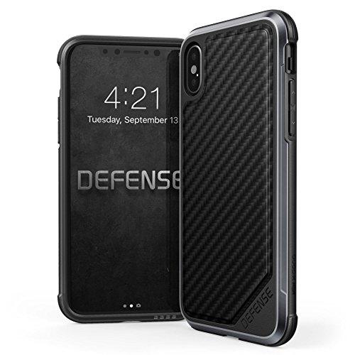 iPhone X hülle,X-Doria Defense Lux Serie,Military Grade Drop getestet,Eloxiertes Aluminium,TPU,Polycarbonat Schutzhülle für Apple iPhone X - Kohlefaser (Apple Frauen Bottoms)
