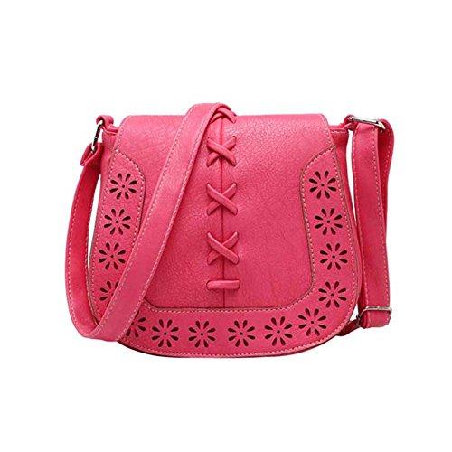 - 51PyB8YCLzL - Hrph Women Messenger Tassel Bag Hollow Out PU Leather Shoulder Purse Handbags Saddle Crossbody Bags