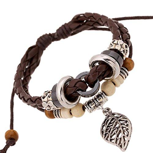 gyjun Armbändern Leder-Armband Leder mit Perlen (Tous Armband Perle)