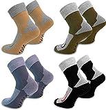 4 Paar Stopper-Socken / Homesocks mit rutschfester ABS Sohle und Innenfrottee / in Schwarz