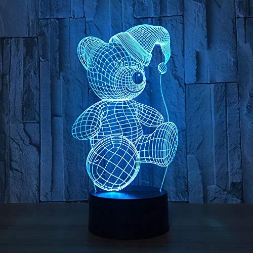 3D Lampe Nachtlicht Stimmungslicht Bär Form Tischleuchte 3 Aa Batterien Oder Usb-Kabel Powered Schöne Acryl Material Panel Abs Basis Für Tischdekoration Und Nacht Dekoration (Bären, Halloween Drei)