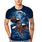 Sonnena Herrenmode 6D fliegen Adler Flood Printed Kurzarm T-Shirt Top Bluse Sweatshirt Herren Slim Fit Hoodie Short Sleeve Muster Pullover Männer Frauen Drucken Top Hip Hop T-Shirt
