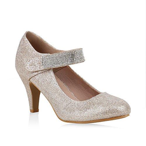Damen Pumps Mary Janes Glitzer Strass High Heels Party Schuhe Gold Strass 39 Flandell -