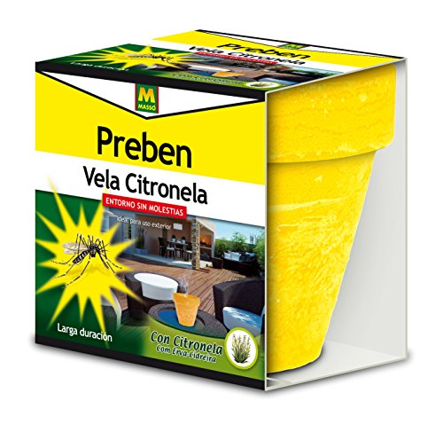 PREBEN 231456 Vela con Citronela Anti-Mosquitos, Amarillo, Naranja y Verde, 11.5x10.5x11.8 cm