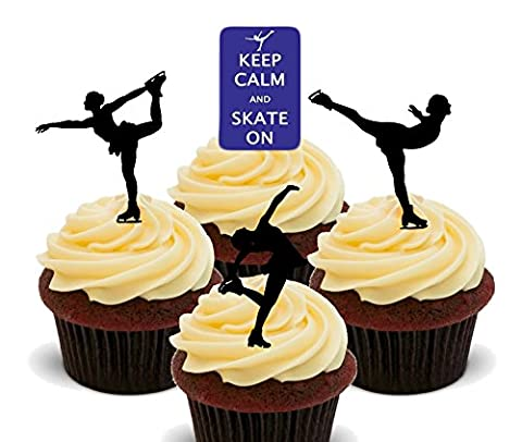 Keep Calm and Skate On - Ice Skating Edible Cupcake Toppers - Stand-up Wafer Cake Decorations (Pack of