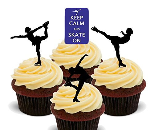 On – Eislaufen Essbare Cupcake Topper – Stand-Up Wafer Kuchen Dekorationen, 12er-Pack (Cupcake Fancy Dress Outfit)