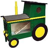 dobar 23031 Dekorativer Kleintierstall doppelstöckig im Traktor-Design mit Ruheraum, Treppe, Zinkwanne, 120 x 54 x 117 cm, grün/gelb
