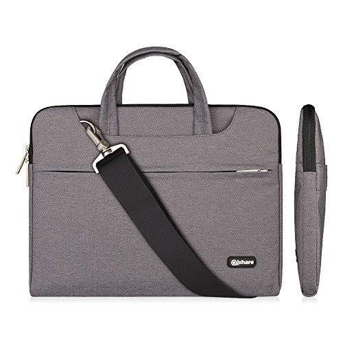 Qishare 13.3-14 Zoll Laptoptasche, Wasserdichte multifunktionale Polyester Laptoptasche, Verstellbarer Schultergurt und unterdrückter Griff, tragbarer Dokumentenordner (13.3-14 Zoll, grau)