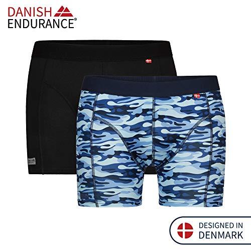 DANISH ENDURANCE Boxer Sportivi (A Piú Colori - Confezione da 2 (1 x Nero, 1 x Blu Mimetico), Large)