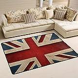 naanle Vintage Union Jack Flagge, rutschfest, Bereich Teppich für Dinning Wohnzimmer Schlafzimmer Küche, 50x 80cm (7x 2,6m) mit der britischen Flagge Teppich Kinderzimmer-Teppich Yoga-Matte, multi, 60 x 90 cm(2' x 3')