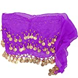 Orientalisch Bauchtanz Tuch hüfttuch Damen Lila Schal