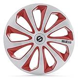 SPARCO SPC1473SVRD Sicilia 4 Stück Radzierblenden, Silber/Rot, 4 Stück, 14