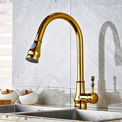 RTS Gold Deck Mounted Kitchen Sink Faucet Swivel Spout Pull Out Mixer Tap Countertop Mixer with Cover Plate