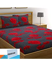 PHOUR HUB 152 TC Microfiber Double Floral Bedsheet with 2 Pillow Covers