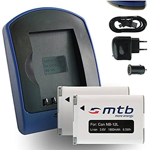 2 Baterías + Cargador (USB/Coche/Corriente) para Canon NB-12L / PowerShot N100 / G1 X Mark II / Legria, Vixia Mini X [3.6V / 1800 mAh / con Infochip]