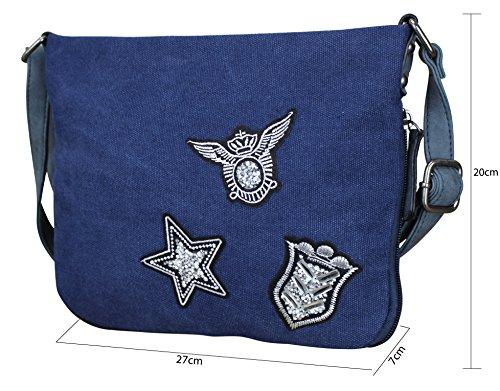 Damen Canvas STERN Sticker Handtasche Sterne Canvas TOP TREND Tragetasche M1 Blau