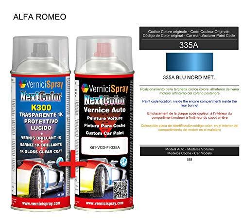 Auto-Ausbesserungsset - Autolack in Metallic/Perlenfarbe 335A BLU NORD MET. VerniciSpray und Glanzlack, 400 ml -