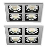 Einbauspots 2 x Kardanisch Q-44 (Grau, quadratisch) LED inkl. GU10 Fassung (15cm Anschlusskabel) Decken Einbaustrahler Deckenstrahler Deckenspots - schwenkbar
