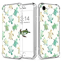 """Caroki iPhone 7 Case, iPhone 8 Clear Case Shockproof Turtle Design [Slim Fit] Transparent Case with Reinforced Corners Soft TPU Bumper Cover For iPhone 7/8 4.7""""-Cute Turtle"""
