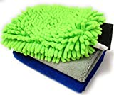 #8: Sobby Microfiber Cleaning Cloths 3 In 1 Combo For Car Care ( 2 Large Microfibre Cloth & 1 Big Size Microfiber Mitt Glove - Assorted Colors)